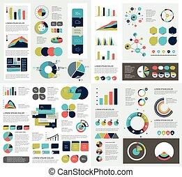 bubbles., 要素, 図, グラフ, セット, infographics, 円, チャート, mega, スピーチ...