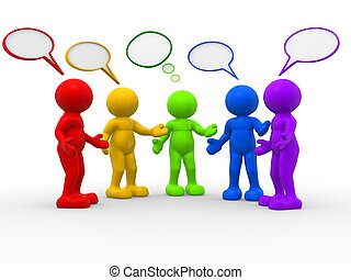 Bubbles - 3d people - human character and speech bubbles . ...