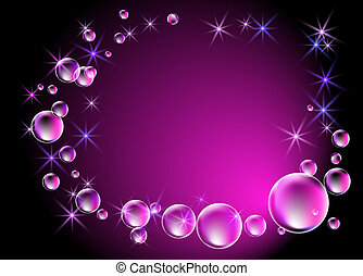 Bubbles and stars - Glowing background with bubbles and...