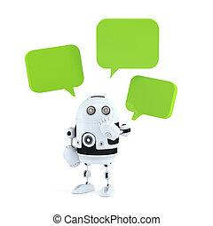 bubbles., android, robot, pratstund