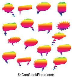 bubbles., avbild, olika, pratstund, färgrik