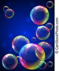 Bubbles background - Vector illustration - soap bubbles...
