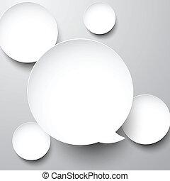 bubbles., blanc, papier, parole, rond