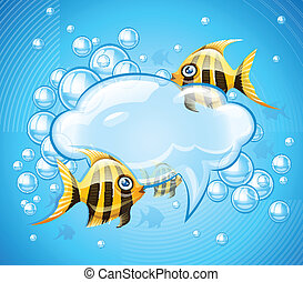 Bubbles cloud in aquarium with gold fishes