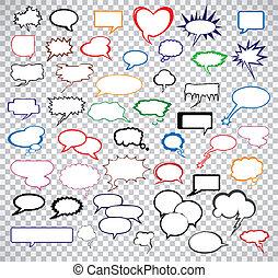bubbles., comico, vettore, set, discorso