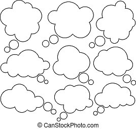 bubbles., comique, parole, nuage