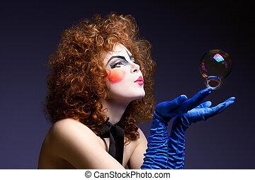 bubbles., femme, mime, savon