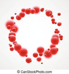 bubbles., fond, rouges