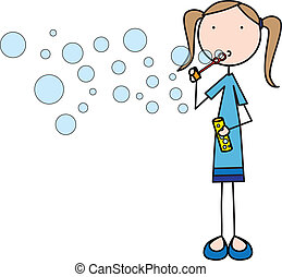 Bubbles - Illustration of a girl blowing soap bubbles