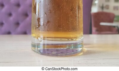 Bubbles in a beer glass