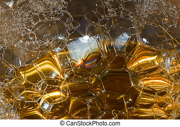 Bubbles in liquid - abstract nature background.