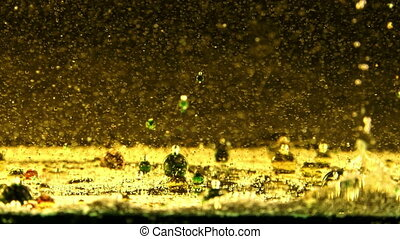 Bubbles in Mixture of Vegetable Oil and Water