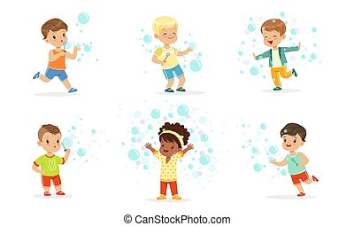 bubbles., jeu, enfants, savon, vecteur, illustration.