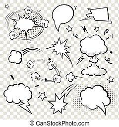 bubbles., komik, wektor, mowa, illustration.