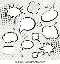 bubbles., komisch, vector, toespraak, illustration.