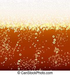 bubbles., luce, schiuma, su, illustrazione, fondo., birra, vettore, chiudere, fresco, bevanda