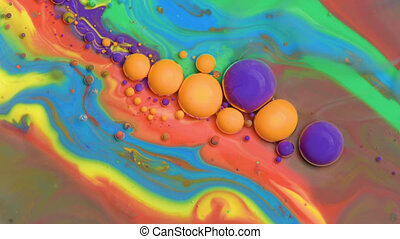Bubbles of acrylic paint and oil - Bright colorful acrylic...