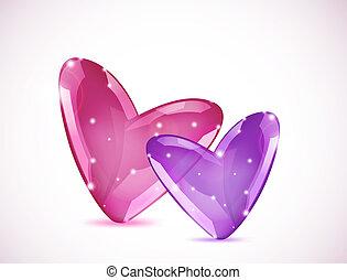 Bubbles Of Hearts. Vector