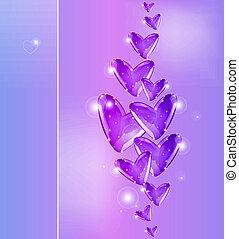 Bubbles of violet Hearts. Vector