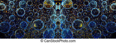 bubbles panoramic image - texture of bubbles on a dark blue ...