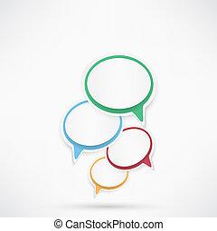 bubbles., papel, discurso