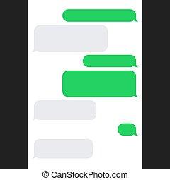 bubbles., smartphone, vecteur, sms, bavarder