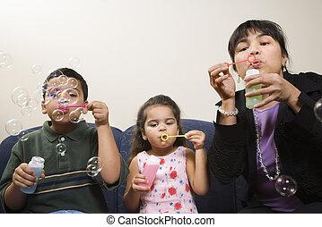 bubbles., souffler, famille
