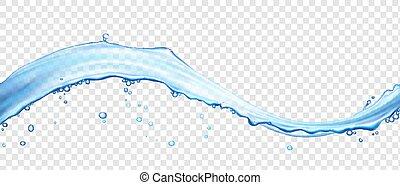 bubbles., surface, vague, eau, réaliste, vecteur, illustration, 3d