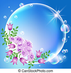 Bubbles with flowers and sun