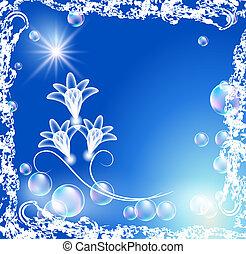 Bubbles with transparent flowers