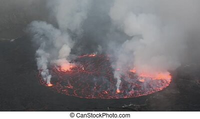 Bubbling red lava in the mouth of Nyiragongo volcano, Congo