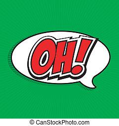 bublina, komický, řeč, oh!, karikatura