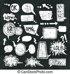 buborék, állhatatos, beszéd, chalkboard, ikonok
