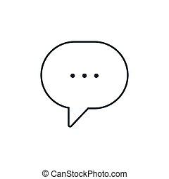 buborék, beszélgető, sovány megtölt, csevegés, beszéd, ikon