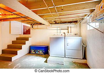 bucato, appliances., vecchio, stanza, seminterrato