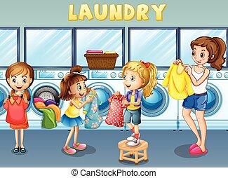 bucato, bambini, insieme