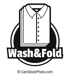 bucato, camicia, lavare, e, piega, logotipo, semplice, stile