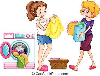 bucato, due donne