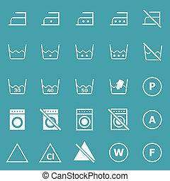 bucato, icone, su, sfondo blu