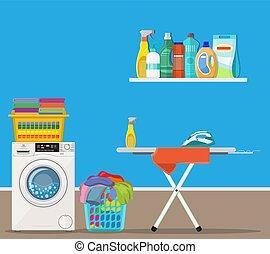 bucato, lavaggio, stanza, macchina