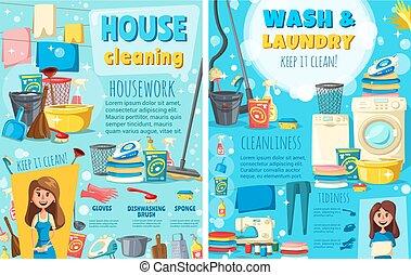 bucato, lavare, casa, pulizia, apparecchi, e, attrezzi