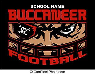 buccaneer football team design with mascot wearing facemask...
