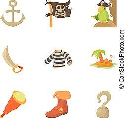 Buccaneer icons set, cartoon style
