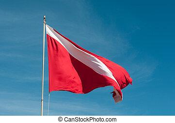 buceando, bandera