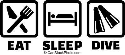buceando, sueño, iconos, comer
