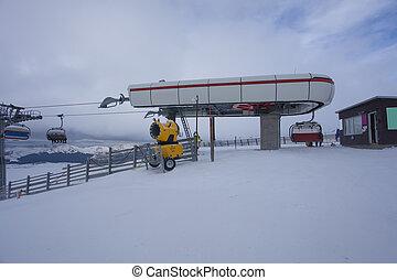 bucegi, cable, pendiente, coche, montaña, esquí