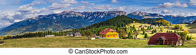 Bucegi mountains seen from Fundata vilage, Brasov, Romania