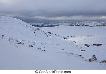bucegi, rumania, paisaje., montaña, invierno