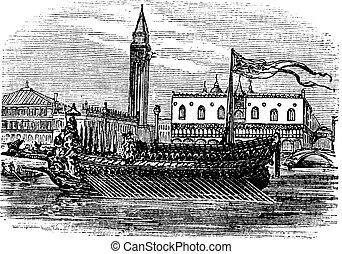 bucentaur, venecia, vendimia, engraving., doges, galera