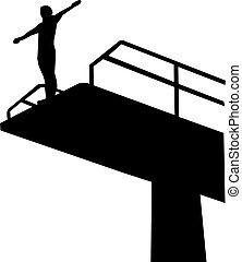 buceo, 27, estantes, plataforma, alto, hombre, metro